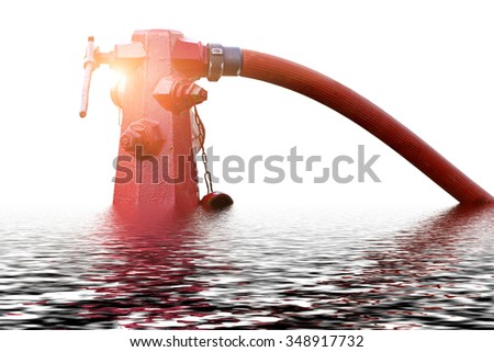 Flood, fire hydrant , hose connection ,fire fighting equipment for fire fighter. - stock photo