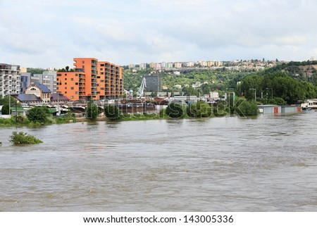Flood in Prague in 2013, Czech Republic - stock photo