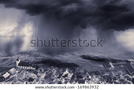 flood in the city - stock photo
