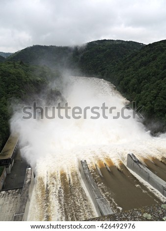 Flood in the dam in the Czech Republic, much water - stock photo