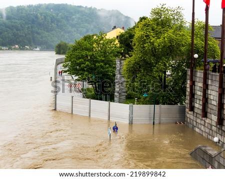flood 2013 linz, austria. overflows and flooding - stock photo