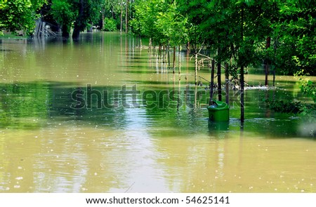 Flood on the river Danube at riverside 'Romai' in Budapest - stock photo