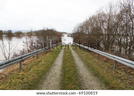 flood the sunken road, the melt-water - stock photo