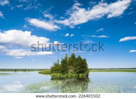 Flood Waters Green Island  - stock photo