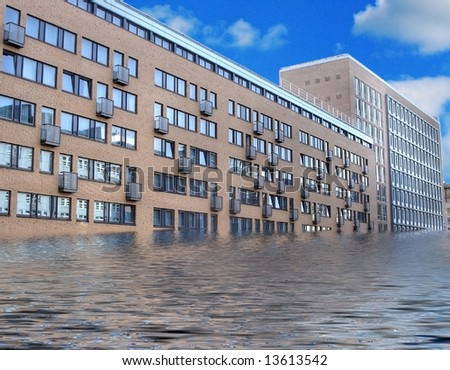 Flooded city - stock photo
