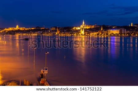 Flooded embankment in Budapest, Hungary - stock photo