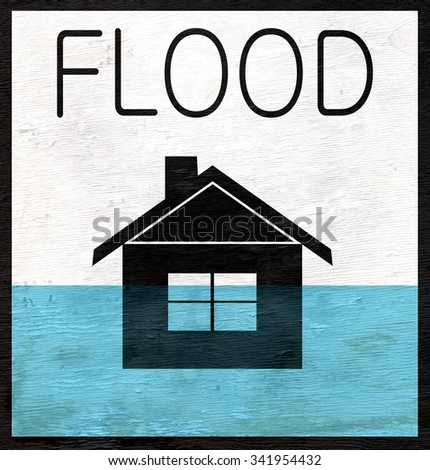 flooded home graphic design with rising water on wood grain texture - stock photo