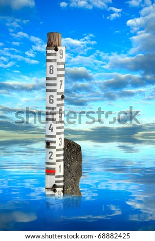 Flooded landscape with hydrological measure. - stock photo
