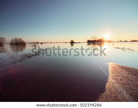 Flooded road. Hight water at Oka river in Russia - stock photo