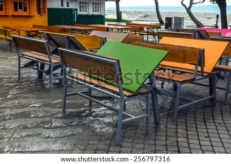 Flooded terrain in Bataton at sping - stock photo