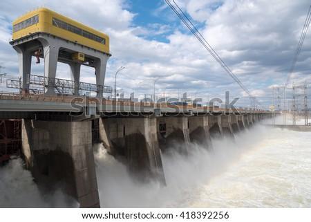 Floodgate of Zhigulyovskaya hydroelectric station, Russia. - stock photo