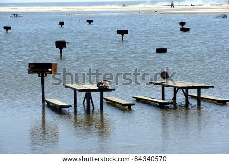 flooding at picnic area - stock photo