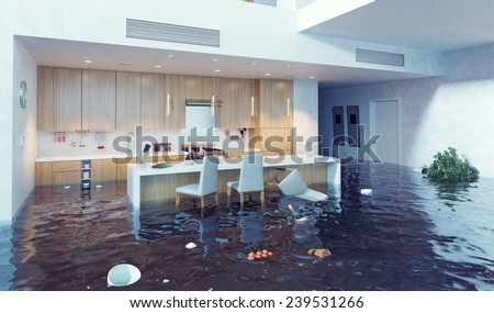 flooding in luxurious kitchen interior. 3d creative illustration - stock photo