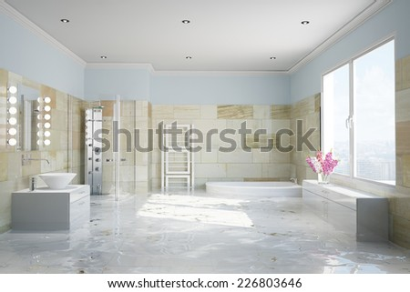 Flooding in terracotta bathroom with water damage (3D Rendering) - stock photo