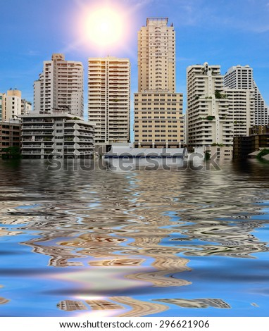 Flooding in the city. - stock photo