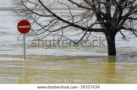 Flooding is off limits sign. - stock photo