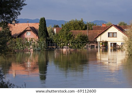 Flooding waters of river Sava and Krka in Slovenia, September 2010 - stock photo