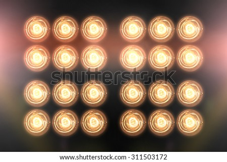 Floodlights Flash lights.Spotlights - stock photo