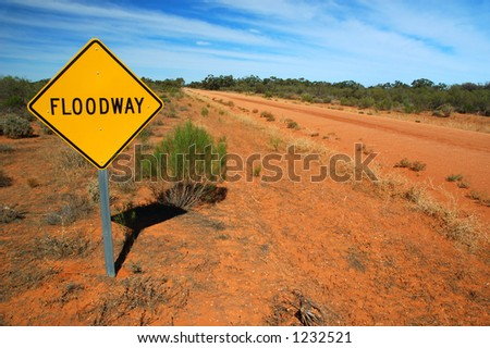 Floodway Road Traffic Sign on a Rural Road - stock photo