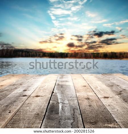 floor and lake  - stock photo