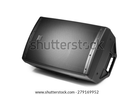 floor audio speaker PA monitor, isolated on white - stock photo