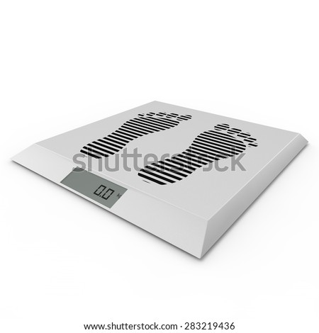 Floor electronic scales on the isolated background - stock photo