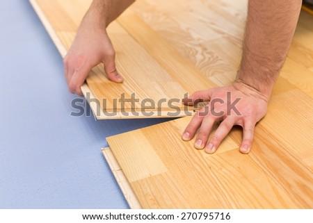 Floor, Hardwood Floor, Installing. - stock photo