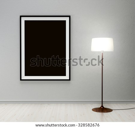 floor lamp and black frame on wall - stock photo