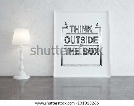 floor lamp and frame in room - stock photo