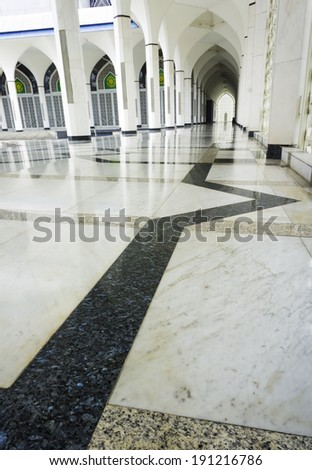 Floor marble pattern at mosque corridor - stock photo