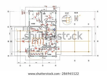 floor plan blueprints, engineering and architecture drawings - stock photo