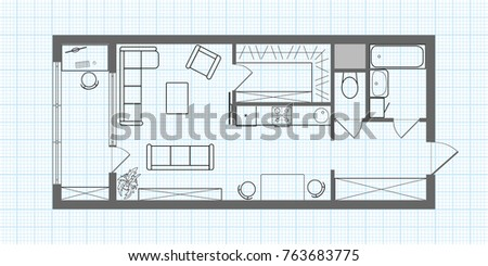 Floor Plan Of A Long Studio Apartment On Background Of Millimeter Paper.  Professional House Layout