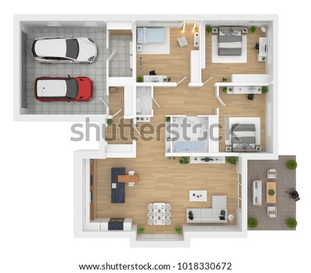 interior house plan. Plain Interior Floor Plan Top View House Interior Isolated On White Background 3D Render And Interior Plan