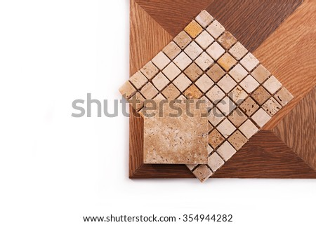 Floor tiles and mosaics of natural stone - stock photo