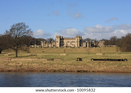 Floors castle the home of the Roxburghes on teh banks of the river Tweed - stock photo