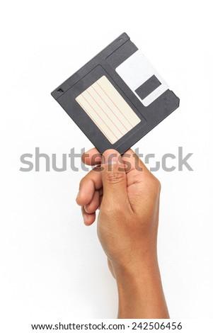 floppy disc on white background - stock photo