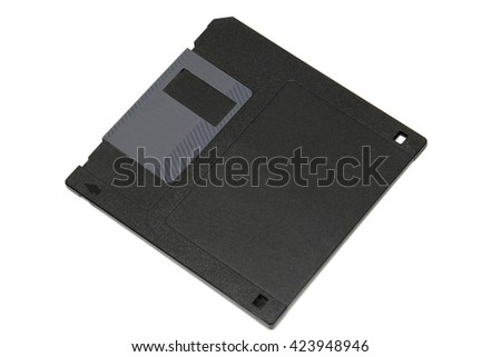 Floppy disk, data storage support, isolated on white