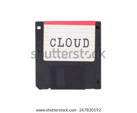 Floppy disk, data storage support, isolated on white - Cloud - stock photo