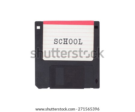Floppy disk, data storage support, isolated on white - School - stock photo