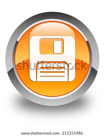 Floppy disk icon glossy orange round button