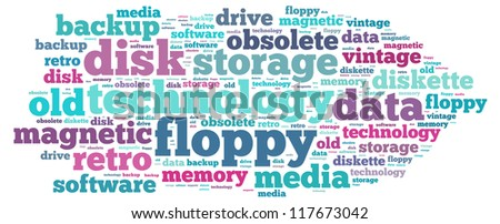 Floppy Disk info-text graphics and arrangement concept on white background (word cloud)