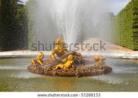 Flora (Roman goddess of flowers) fountain spraying water in Versailles Chateau. France - stock photo