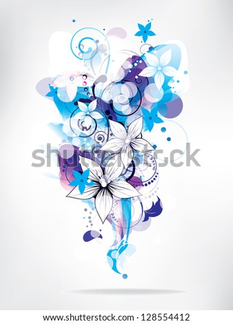 Floral abstract background with flowers - stock photo