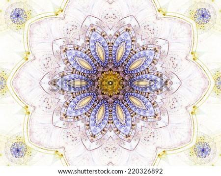 Floral abstract mandala, digital artwork for creative graphic design - stock photo
