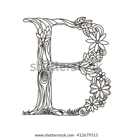 Floral Alphabet Letter Coloring Book Adults Stock Illustration ...