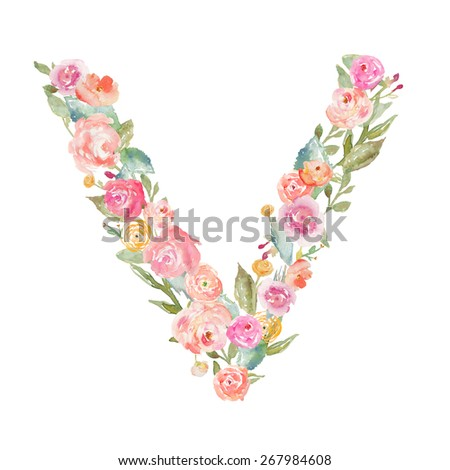 Floral alphabet monogram letter v made stock illustration 267984608 floral alphabet monogram letter v made of flowers thecheapjerseys Gallery