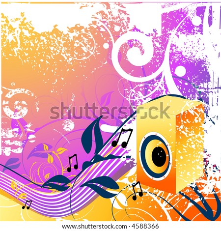 Floral and music elements