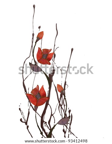 Floral Art isolated on white background - stock photo