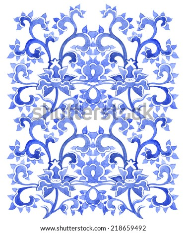 Floral asian ornamental pattern. Watercolor decorative ornament