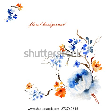 Floral background and Watercolor illustration of delicate spring flower - stock photo